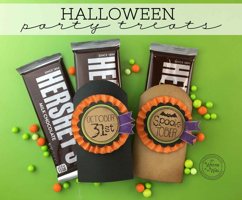 KIT Spook-Tober Candy Cards Candy Bar Wrappers Halloween Half each wrap