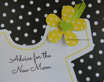 Baby Shower Onesie Game, Onesie with Flower, Advice For the New Mom, Baby Shower Party Game, Keepsake, Yellow or Purple