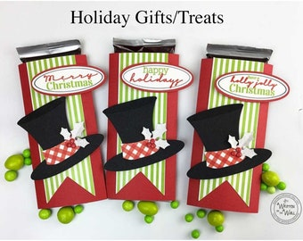 KIT Christmas Candy Bar Wrappers, Carolers Top Hat, Hershey, Co-Worker Treats, Employee gift, Party favors, Teachers Appreciation, DIY Kit