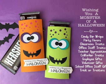 KIT Halloween Monster Candy Bar Wrappers, Candy Card, Halloween Treats, Gifts, Party Favor, Game Prize, Hershey Bar, Co-Worker Treats