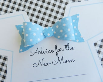 Baby Shower Onesie Game, Onesie with Bowtie, Advice For Mom, Baby Shower Party Game,. Keepsake, Pink Onesie Blue Onesie, Baby Onesie