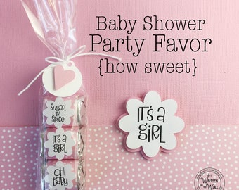 KIT Baby Shower Party Favors | Nugget Wraps |  Party Gift | Hershey Wraps | Guest Gifts | Game Prizes | It's a Girl | Pink | Sugar and Spice