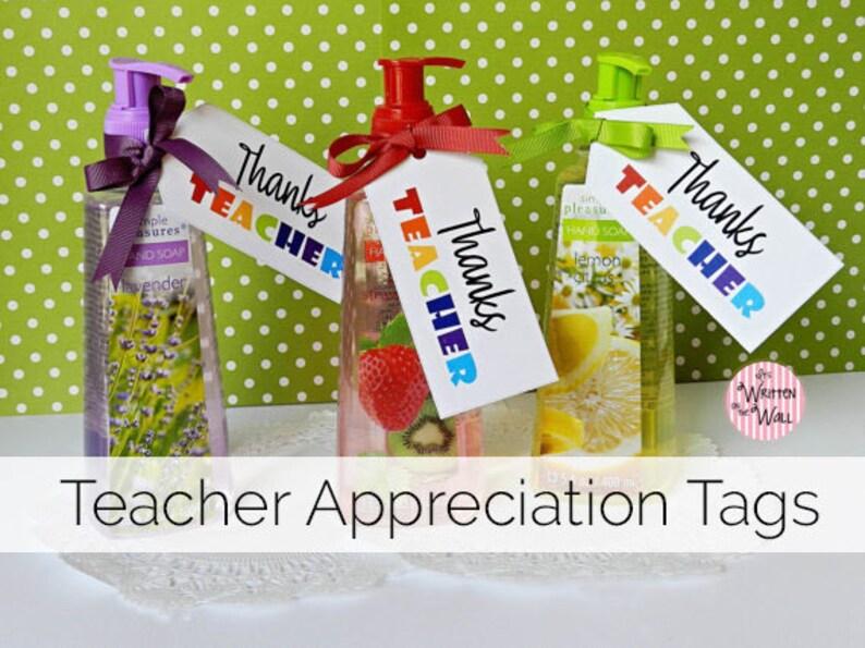 Thanks Teacher Tags Teacher Appreciation Hand Soap Tags Etsy