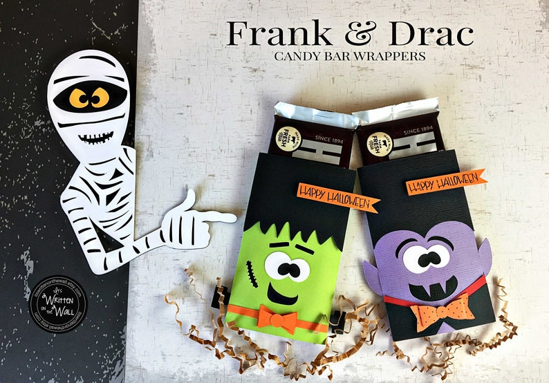 KIT Frankenstein & Dracula Candy Card /Candy bar wrapper/ Half each color