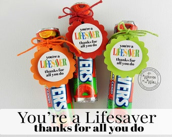 PRE-MADE You're a Lifesaver Tag/Employee Appreciation / Nurse Appreciation/Blood Drive/First Responder /Volunteers /CoWorker Gifts/ Firemen