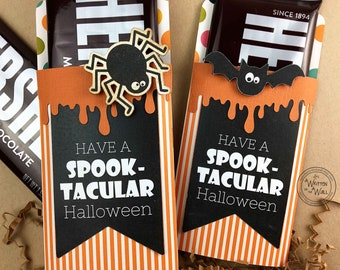 KIT Halloween Spook-Tacular Spider Candy Bar Wrappers, Candy Card, Halloween Treats, Gifts, Party Favor, Game Prize, Hershey Bar, Co-Worker