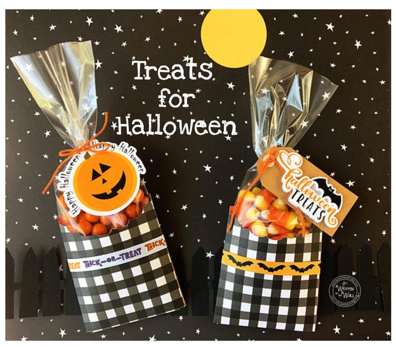 KIT Halloween Bat & Pumpkin Treat Bag Party favor Co-Workers Half each Design