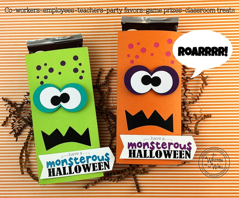 KIT Halloween Monster Candy Bar Wrappers Candy Card Half Each Monster