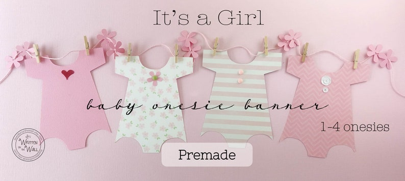 PREMADE 8 Onesies Banner for Baby Shower  /Decoration Baby image 0