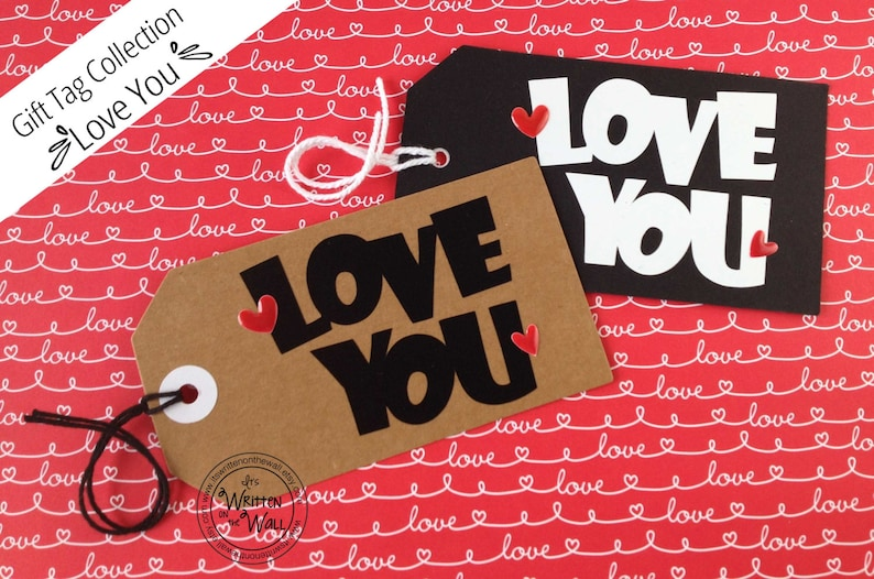 4 Handmade Love You Gift Tags/ Valentines Day /Birthday Gift image 0