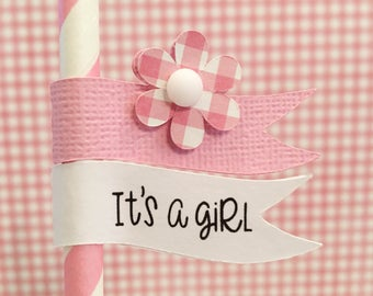 Kit Baby Shower Straws & Straw Flags, It's A Girl, Drink Straw, Baby Shower Supplies, Soda Straws, Pink Straws, Pink Flag Straws