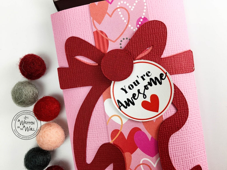 KIT Valentine You're Awesome Candy Card Candy Bar image 0