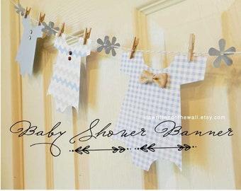 KIT Baby Shower Banner, Baby Boy Onesie Garland, Baby Shower Decoration, Nursery Decoration, Baby Shower Party, Baby Onesie, Its a Boy