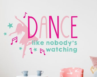 Vinyl wall quotes, Dance wall decals, Wall decal quotes, Wall decals for girls, Kids wall sticker, Dance like nobody's watching DB454