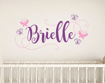 Girl butterfly wall decals, Nursery wall decal, Personalized wall decals, Butterfly room decor, Kids wall sticker, Baby nursery decor DB445