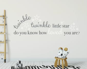 Twinkle twinkle little star wall decals, Vinyl wall quote stickers, Nursery wall decals, Baby wall decals, Vinyl wall decals, Word art