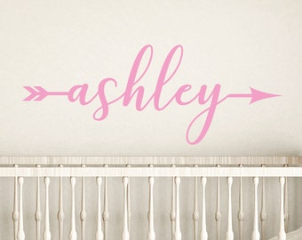 Arrow name stickers, Girls room decor, Personalized wall decals, Wall stickers for bedroom, Monogram stickers, Nursery decor, DB426