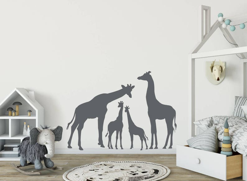 giraffe wall decal jungle animal wall decals kids wall | etsy