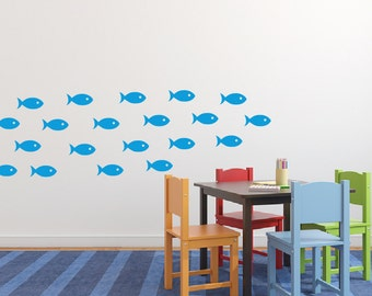 School of fish wall decal stickers, Fish wall decor, Bathroom wall decals, Ocean wall decals, Bathroom wall decor, Under the sea decal DB216