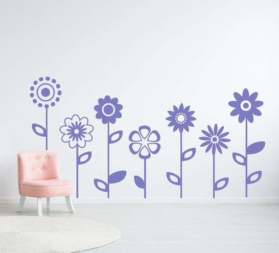 Flower Wall Decal Girls Room Decor Bedroom Wall Decor Large Etsy