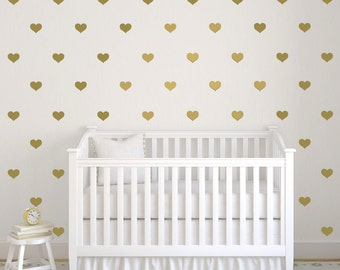 Heart wall decals, Nursery wall decal, Gold heart wallpaper, Accent wall decals, Heart wall decor, Peel and stick heart stickers DB402
