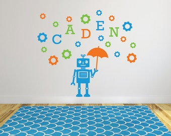 Robot name decals, Sticker robot, Personalized wall decals, Kids robot, Vinyl wall decal, Removable wall decals for kids, Robot decor DB355