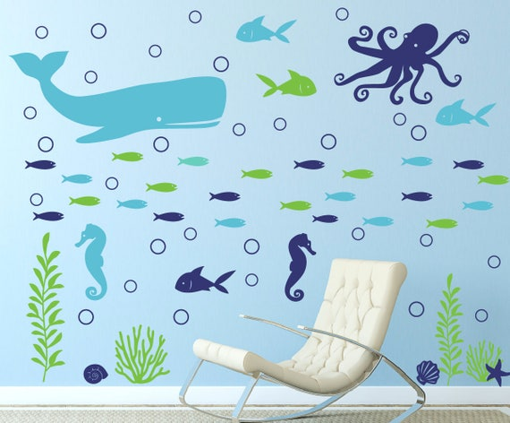 Ocean Wall Decal Childrens Wall Decal Sea Animal Wall Etsy