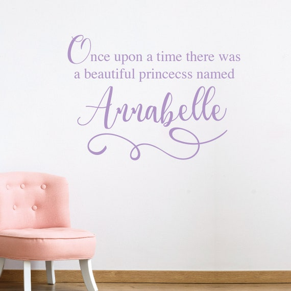 PERSONALISED ONCE UPON A TIME PRINCESS custom NAME little girl wall art sticker