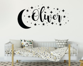 Boys star and moon decal, Nursery wall decor, Star wall decals, Kids room decor, Star wall art, Custom name decal, Name sticker decal