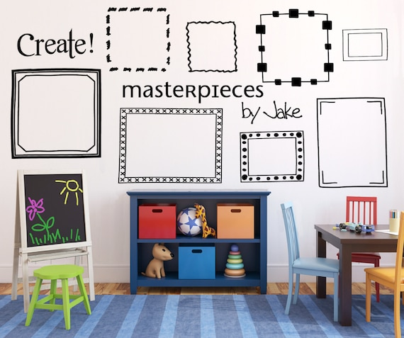 Kids art display frames Picture frame wall decals Playroom | Etsy