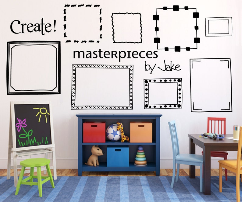 Kids art display frames Picture frame wall decals Playroom image 0