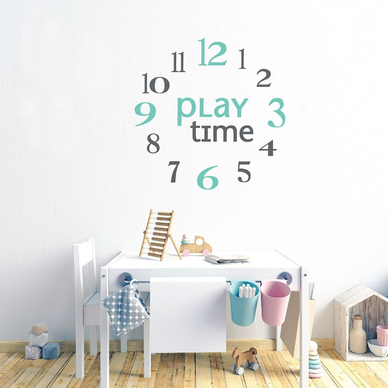 clock numbers wall decals playroom wall decals for kids | etsy