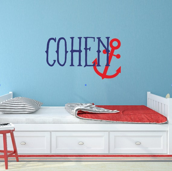 nautical nursery decor personalized name wall decal anchor   etsy