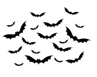 Set of Bats Wall Decals Halloween B355
