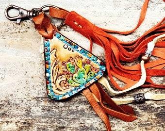 Cactus Tooled Leather Fringe Key Clip, Boho Cowgirl Tooled Keychain