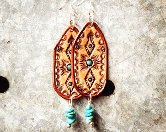 Turquoise Tooled Leather Fringe Boho Earrings, Western Cowgirl Earrings
