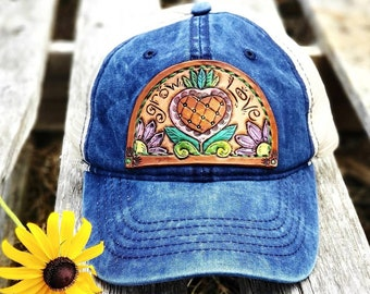 Western Leather Patch Hat, Sunflower Patch Hat