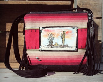 Wind Dancer Shoulder Bag / Desert Cactus Navajo Design Leather Fringe Western Cowgirl Purse /Southwest Sarape hand painted Bag