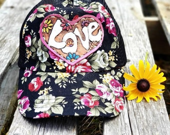 Leather Patch Baseball hat, Hippie style