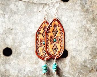 Turquoise Tooled Leather Fringe Boho Earrings / Cowgirl Handtooled Earrings