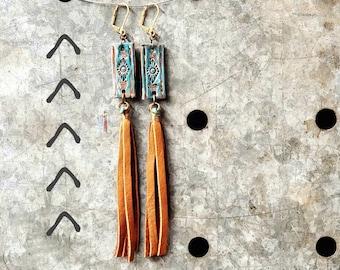 Leather Fringe Tooled Dangle Turquoise Earrings / Western Southwest Boho Cowgirl   Brass Nickel free hook Earrings
