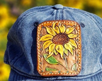 Sunflower Leather Patch Hat