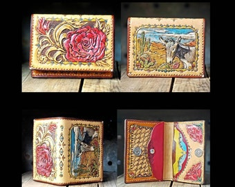 Rambling Rose with Donkey Cactus tooled leather snap Western Cowgirl Card wallet