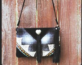 Western Sky Keepsake Shoulder Bag / Cowgirl Western Pendleton Plaid Wool Leather fringe Purse