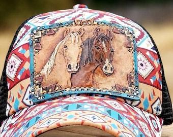 Horse Tooled Leather Patch Baseball ponytail Hat / Palomino Bay