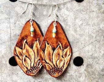 Sunflower Tooled Leather Fringe Boho Earrings / Cowgirl Handtooled Earrings