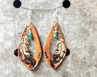 Gypsy Feather Tooled Leather Fringe Boho Earrings / Cowgirl Handtooled Earrings