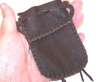 Beautiful Deerskin Leather Medicine Bag .. Seamed...Long,, BROWN