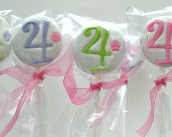 6 PERSONALIZED CHOCOLATE COVERED OREO LOLLIPOPS -1 Color -1 NUMBER OR LETTER -Birthday Party or Shower Favors