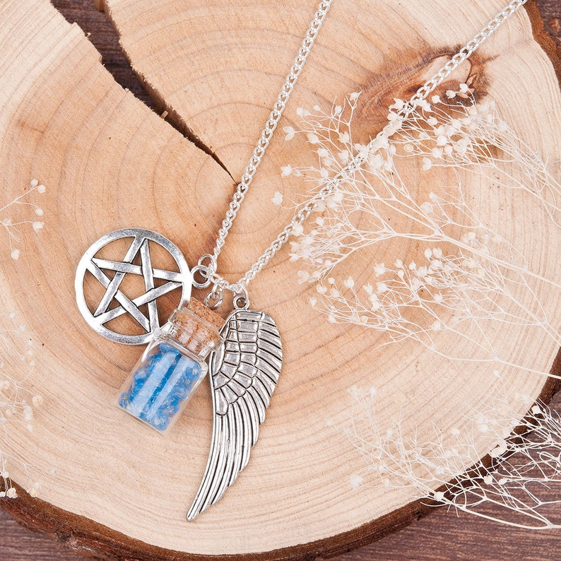 Salt /& Burn Bottle Protection Necklace PentacleDevils Trap With Link Curb Chain Antique Silver Angel Wing